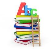 Concepto de la educación. Libros con la muestra de ABC Foto de archivo