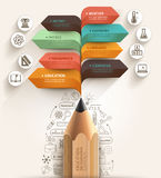 Concepto de la educación Plantilla de la flecha del lápiz y del discurso de la burbuja Foto de archivo