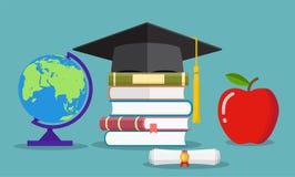 Concepto de la educación Sombrero graduado, globo, libros stock de ilustración