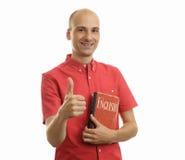 Concepto de la educación Aprenda el inglés Hombre hermoso con el libro Fotos de archivo