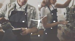 Concepto de la eficacia de la exactitud de la gestión de la organización del reloj de tiempo foto de archivo