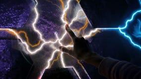Concepto de la electricidad, de la educación, de la ciencia, futurista y de la física almacen de video