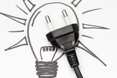 Concepto de la electricidad y de la iluminación Fotografía de archivo