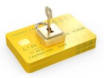 Concepto de la encripción de datos de la tarjeta de crédito Fotografía de archivo libre de regalías