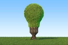 Concepto de la energía renovable Árbol formado como bombilla en el verde Imagenes de archivo