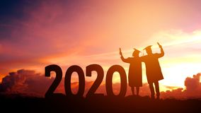 Concepto de la enhorabuena de la educación de 2020 del Año Nuevo de la silueta de la gente años de la graduación en 2020, liberta fotos de archivo