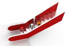 concepto de la escalera móvil del hombre 3d Imagen de archivo libre de regalías