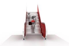 concepto de la escalera móvil del hombre 3d Foto de archivo libre de regalías