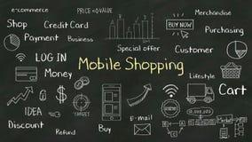 Concepto de la escritura de 'compras móviles' en la pizarra con el diverso diagrama libre illustration