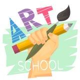 Concepto de la escuela de arte Mano que sostiene el lápiz y el cepillo grandes Logotipo o bandera listo para la lección del arte  stock de ilustración
