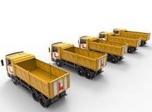 Concepto de la escuela de conducción de la flota de camiones Imágenes de archivo libres de regalías
