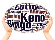 Concepto de la esfera de la mano de la nube de la palabra del Keno del bingo de la loteria imagen de archivo