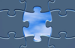 Concepto de la esperanza con el ejemplo del azul de los rompecabezas Fotos de archivo libres de regalías