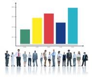 Concepto de la estadística de la colaboración del trabajo en equipo del crecimiento del negocio Imagen de archivo
