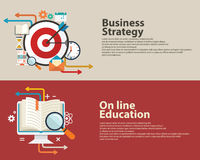 Concepto de la estrategia, consultoría de negocios, en la línea diseño moderno plano de la educación Bandera Design Imagen de archivo