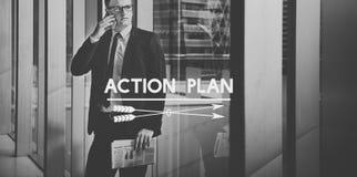 Concepto de la estrategia de la meta del planeamiento del plan de actuación Fotos de archivo