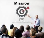 Concepto de la estrategia de la motivación de las aspiraciones de la blanco de las metas de la misión Foto de archivo libre de regalías