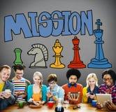 Concepto de la estrategia de solución de las aspiraciones del objetivo de la misión imagenes de archivo