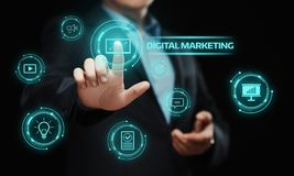 Concepto de la estrategia de la publicidad del planeamiento del contenido del márketing de Digitaces fotos de archivo