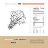 Concepto de la etiqueta de las verduras Foto de archivo
