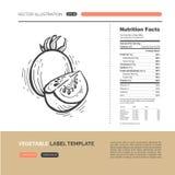 Concepto de la etiqueta de las verduras Imagen de archivo