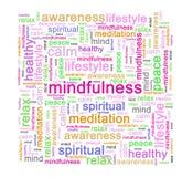 Concepto de la etiqueta de la palabra del Mindfulness stock de ilustración