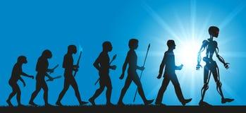 Concepto de la evolución de la humanidad hacia los robots y la inteligencia artificial stock de ilustración