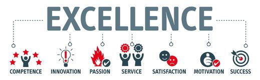Concepto de la excelencia - bandera con palabras claves e iconos ilustración del vector