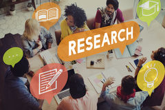 Concepto de la explicación del conocimiento de la reacción de la investigación imagenes de archivo