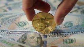Concepto de la explotación minera de Bitcoin La mano humana gira la moneda del pedazo del oro en billetes de banco del dólar metrajes