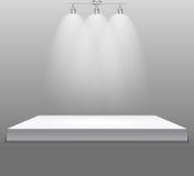 Concepto de la exposición, soporte vacío blanco del estante con la iluminación en Gray Background Plantilla para su contenido 3d  ilustración del vector