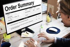 Concepto de la factura de la forma del documento sumario de la orden Fotos de archivo