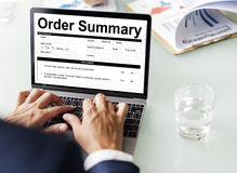 Concepto de la factura de la forma del documento sumario de la orden Imagenes de archivo