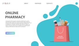 Concepto de la farmacia Bolso de compras con diversas píldoras médicas ilustración del vector