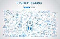 Concepto de la financiación de capital de riesgo con estilo del diseño del garabato del negocio libre illustration