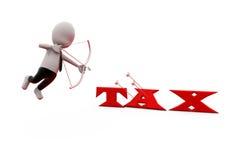 concepto de la flecha del impuesto del hombre 3d Fotografía de archivo