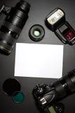 Concepto de la fotografía con el lense de la cámara ilustración del vector