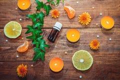 Concepto de la fruta cítrica y del aceite del aroma de las hierbas Foto de archivo libre de regalías