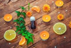 Concepto de la fruta cítrica y del aceite del aroma de las hierbas Imágenes de archivo libres de regalías