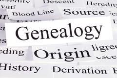 Concepto de la genealogía en palabras fotografía de archivo libre de regalías