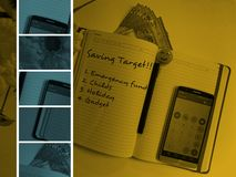 Concepto de la gestión de dinero con vistas al cuaderno, a la pluma, al dinero y a la calculadora con los mensajes Fotografía de archivo libre de regalías