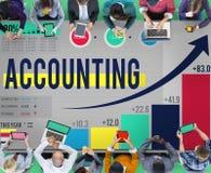 Concepto de la gestión de presupuesto de la contabilidad financiera que considera Imagenes de archivo