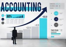Concepto de la gestión de presupuesto de la contabilidad financiera que considera Imagen de archivo libre de regalías