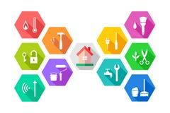 Concepto de la gestión de instalaciones con la casa y las herramientas relacionadas ilustración del vector