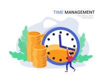 Concepto de la gestión de tiempo El plan empresarial, encargado del tiempo planea las finanzas, costos Foto de archivo
