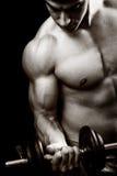 Concepto de la gimnasia y de la aptitud - bodybuilder y pesa de gimnasia imagen de archivo libre de regalías