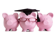 Concepto de la graduación del graduado del estudiante universitario de la universidad, éxito de la educación, llevando la clase Foto de archivo libre de regalías