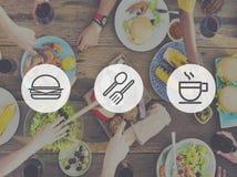 Concepto de la hamburguesa de la comida rápida del desayuno del almuerzo de la comida Imagen de archivo libre de regalías