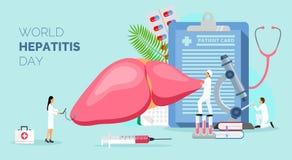 Concepto de la hepatitis A, B, C, D, cirrosis, día de la hepatitis del mundo libre illustration