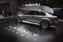 Concepto de la herencia de Subaru - demostración 2009 de motor de Ginebra Fotos de archivo libres de regalías
